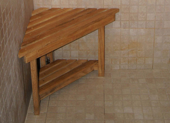 Corner Shower Stool With Shelf