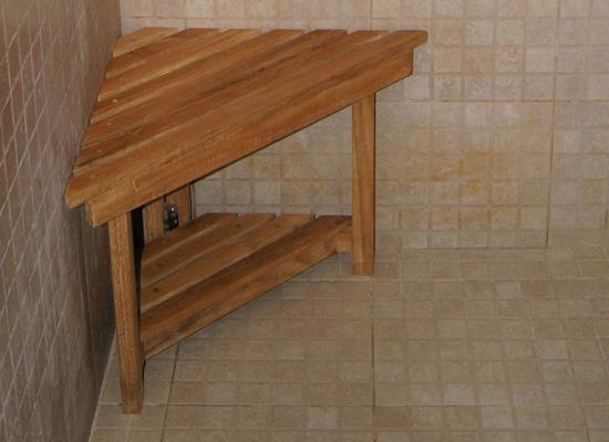 Corner Shower Stool With Shelf | Teak Boutique